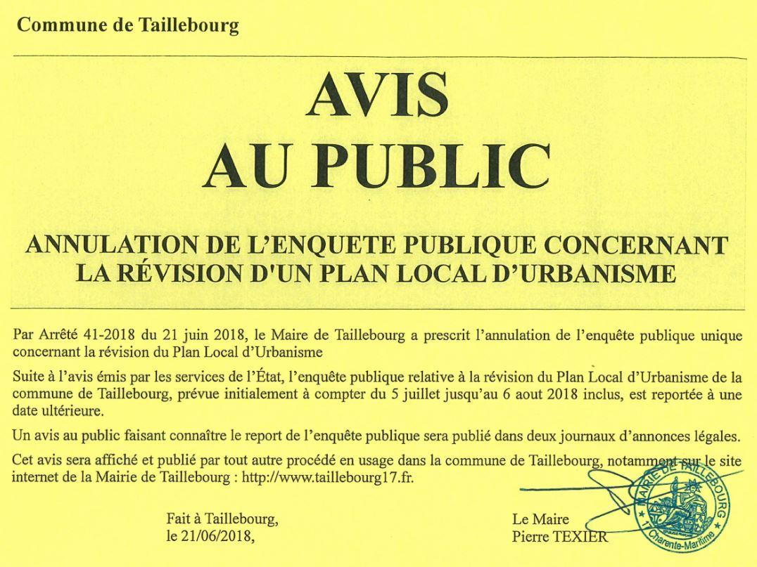 Avis d'annulation de l'enquête publique concernant la révision du plan local d'urbanisme