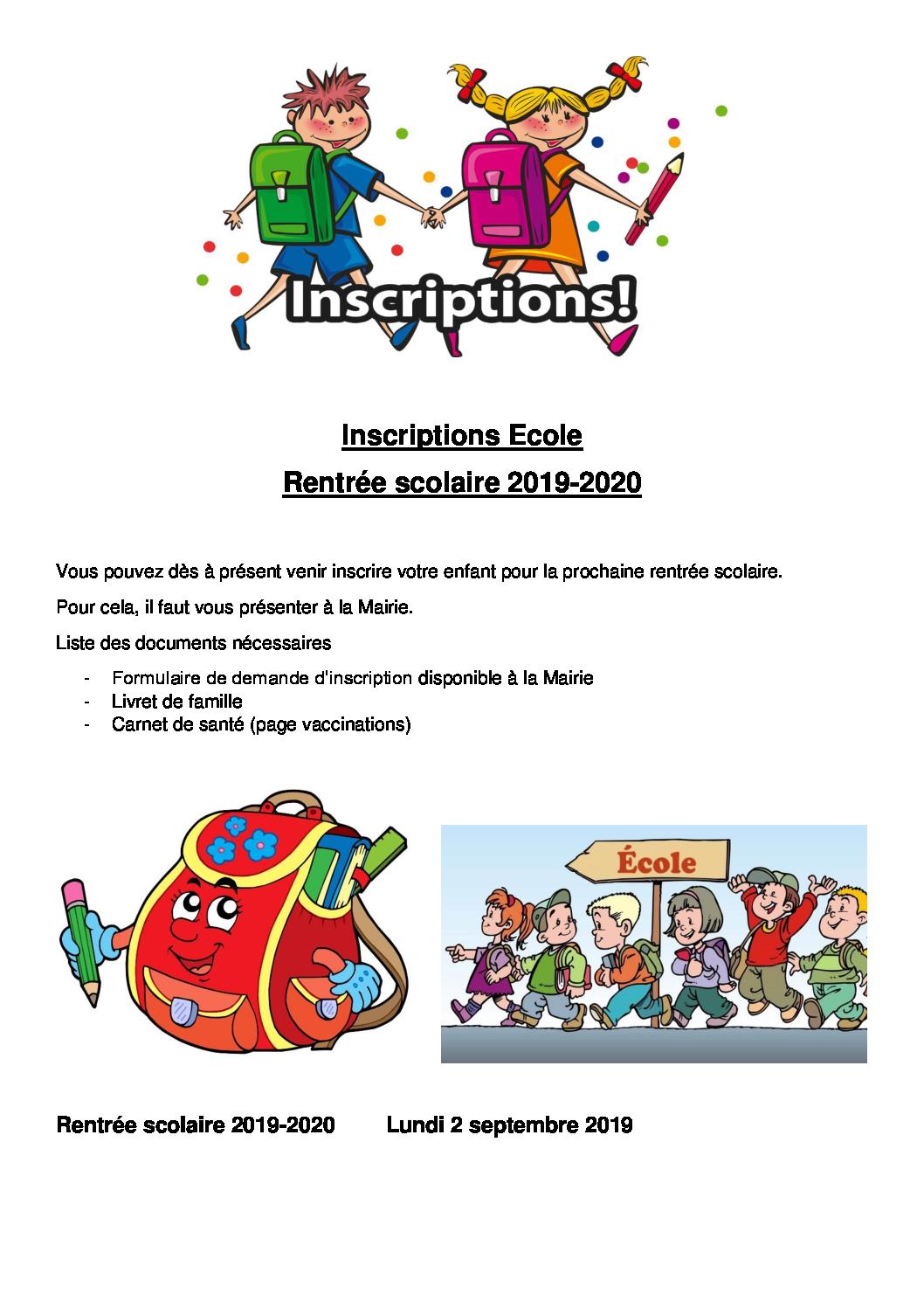 Inscriptions Ecole 2019 - 2020
