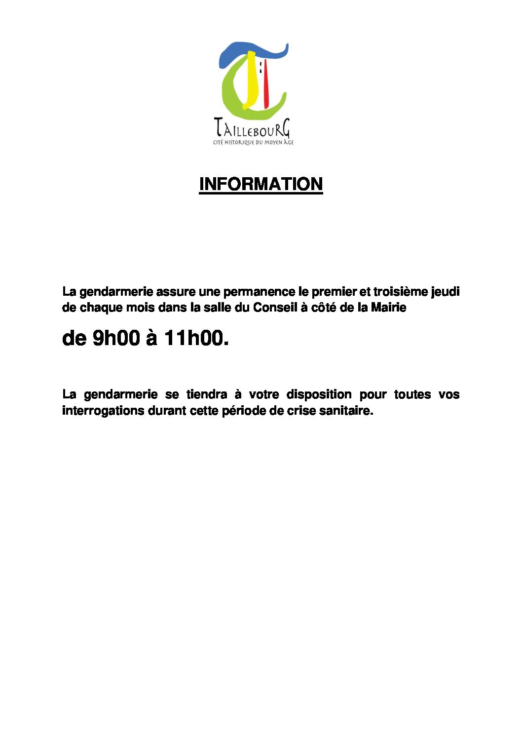 Ouverture Mairie Permanence Gendarmerie Changement horaires