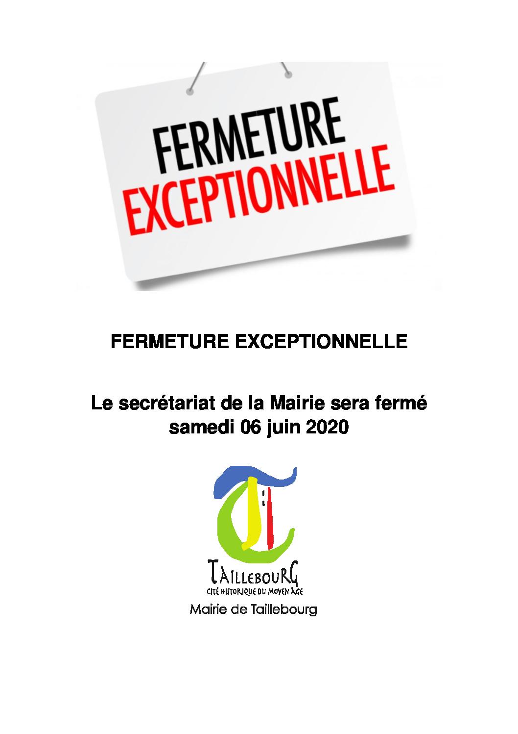 FERMETURE EXCEPTIONNELLE 06-06-2020