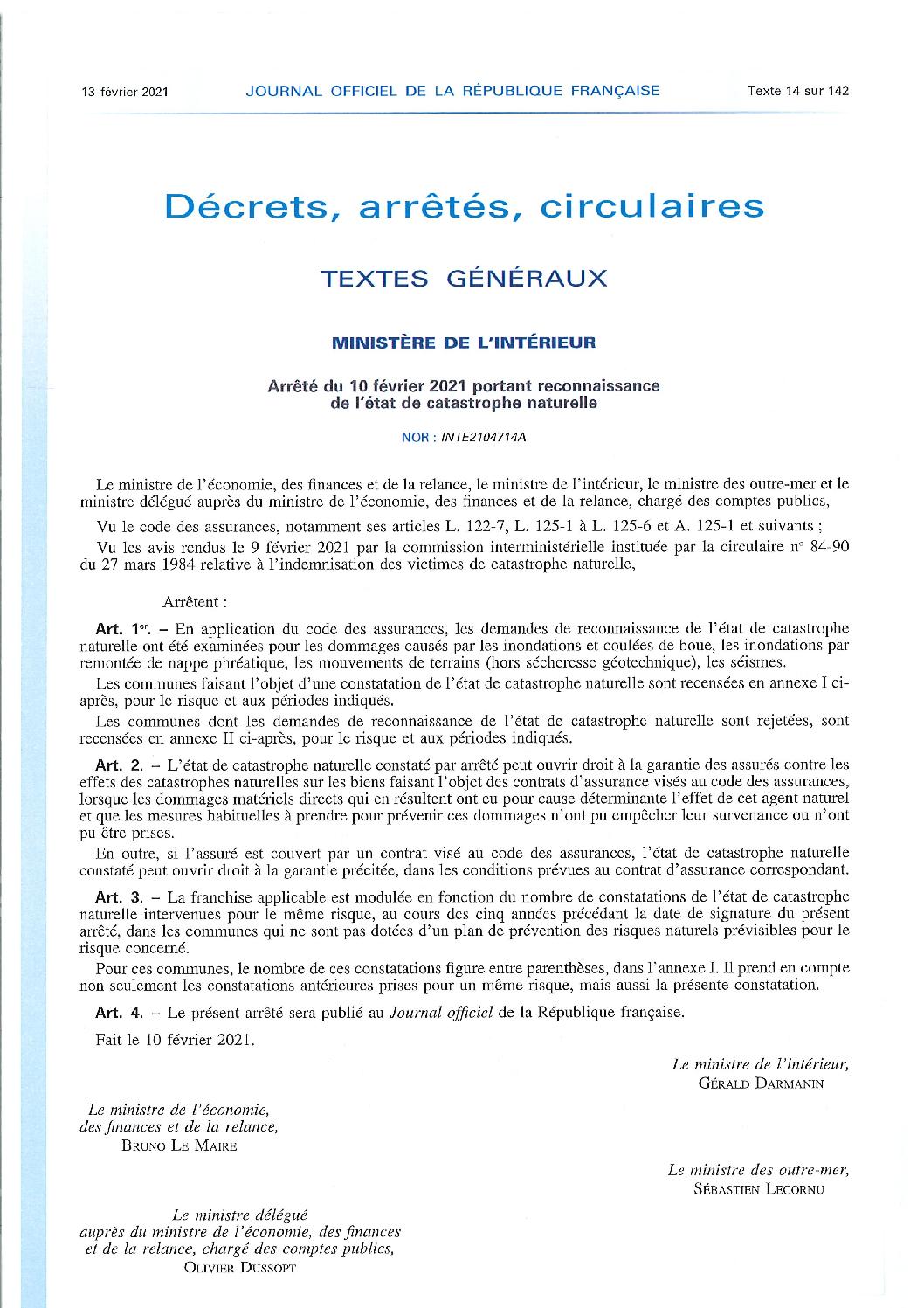 Arrêté du 10-02-2021 portant reconnaissance de l etat de catastrophe naturelle