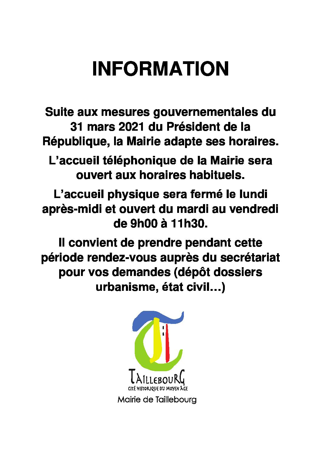 Affiche Mesures COVID-19 du 09-04-2021 au 02-05-2021