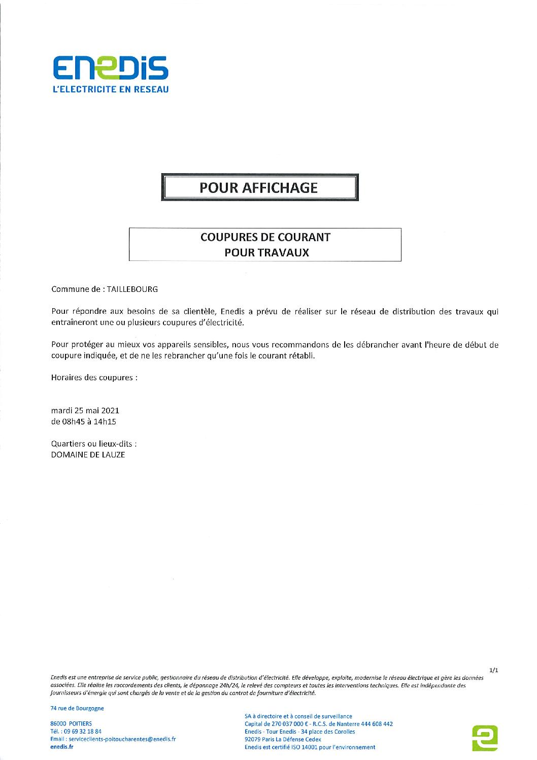 Coupures de courant travaux 25-05-2021