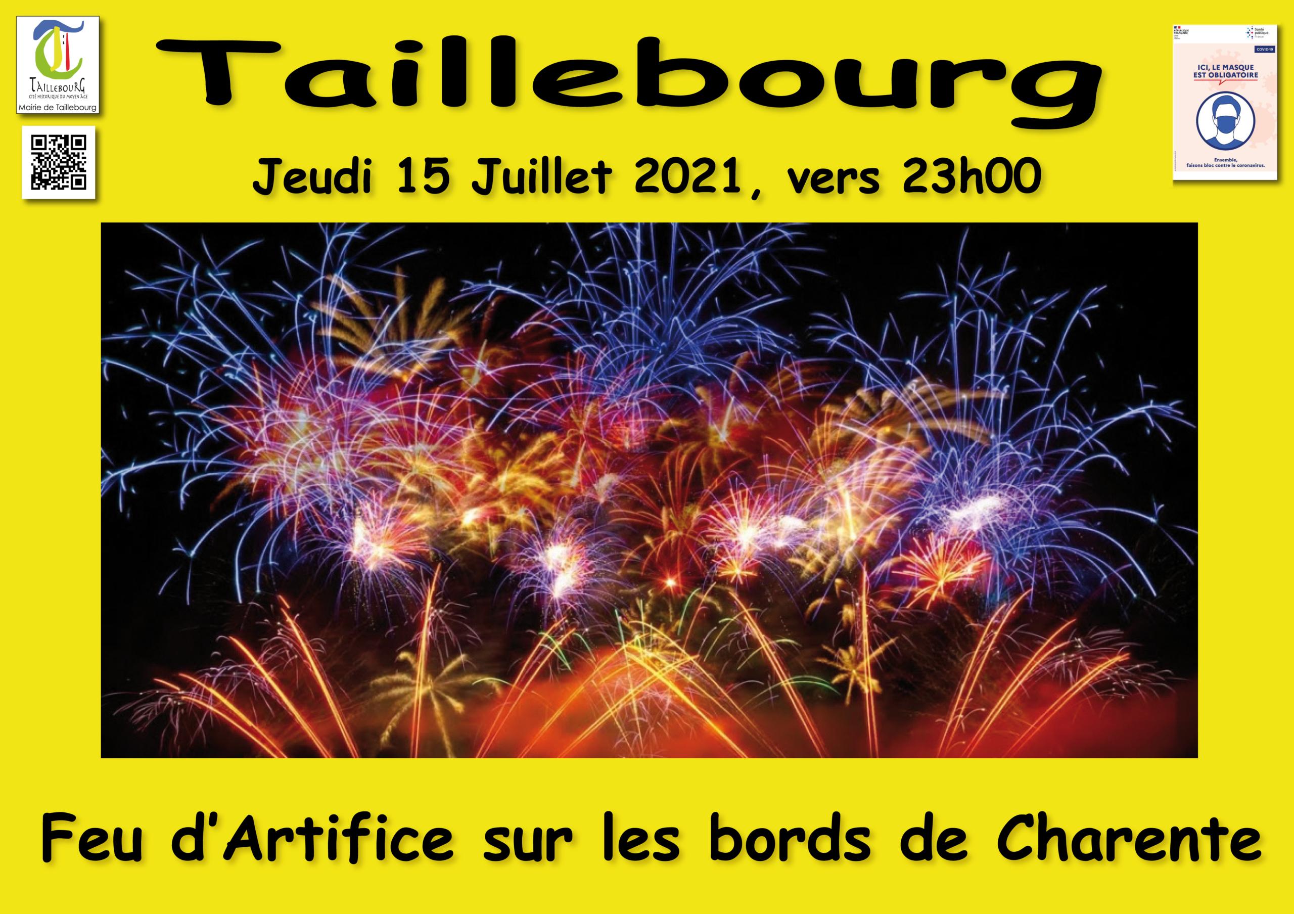 Feu d'artifice jeudi 15 juillet 2021 vers 23h00 sur les bords de la Charente